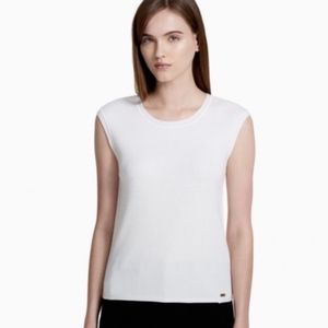 White Ribbed Knit Crew Neck Shell Sleeveless Top